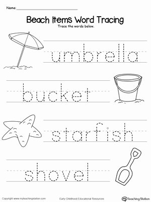 Word Tracing Worksheets for Preschoolers Kids Beach Items Word Tracing
