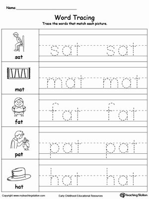 Word Tracing Worksheets for Preschoolers Lovely Word Tracing at Words