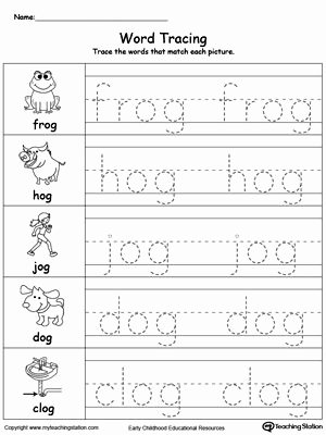 Word Tracing Worksheets for Preschoolers Lovely Word Tracing En Words