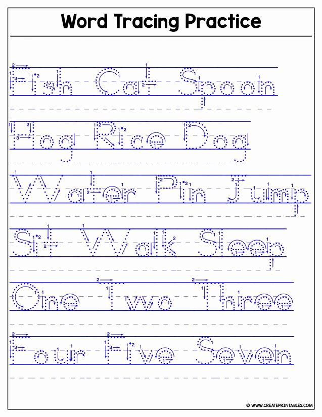 Word Tracing Worksheets for Preschoolers Printable Create Printables Custom Worksheets Name Tracer Word Tracing