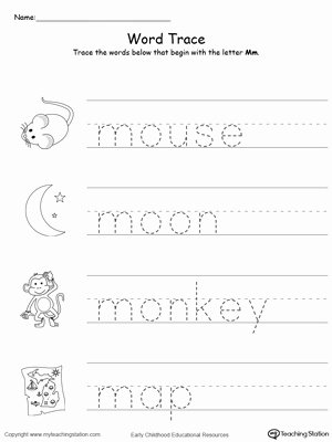 Word Tracing Worksheets for Preschoolers top Trace Words that Begin with Letter sound M