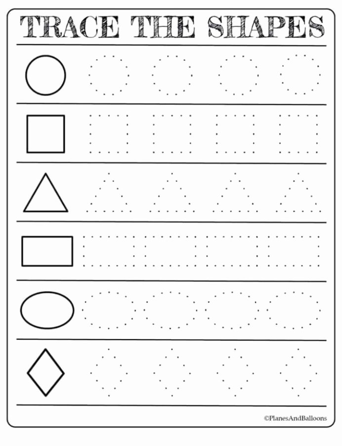 Worksheets for Preschoolers About Shapes top Free Printable Shapes Worksheets for toddlers First Grade