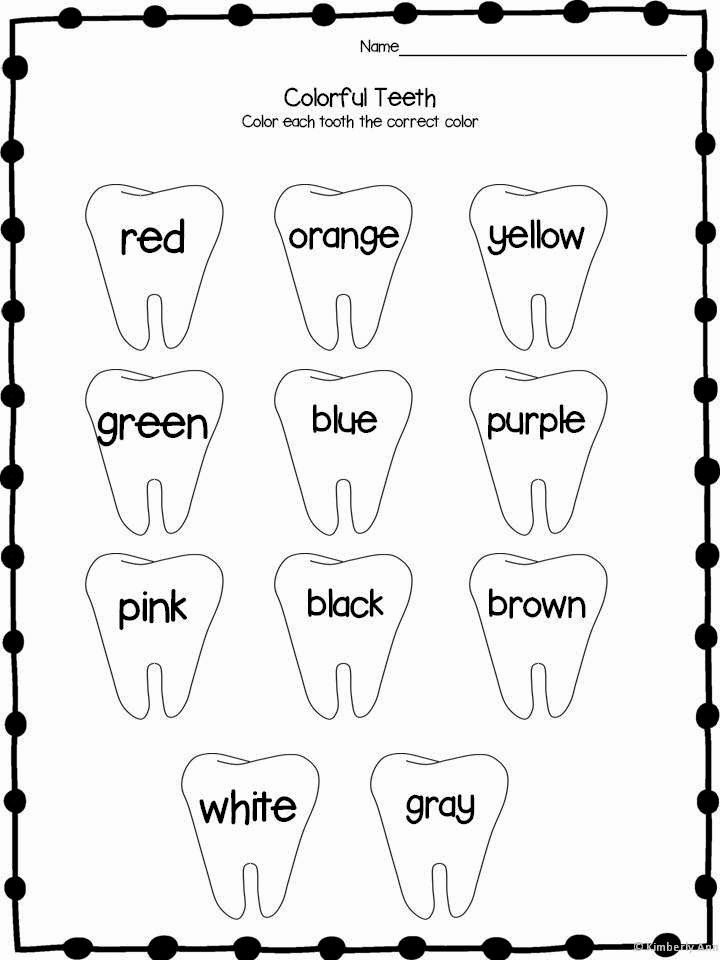 Worksheets for Preschoolers About Teeth Kids Color Words Dental Health February themes