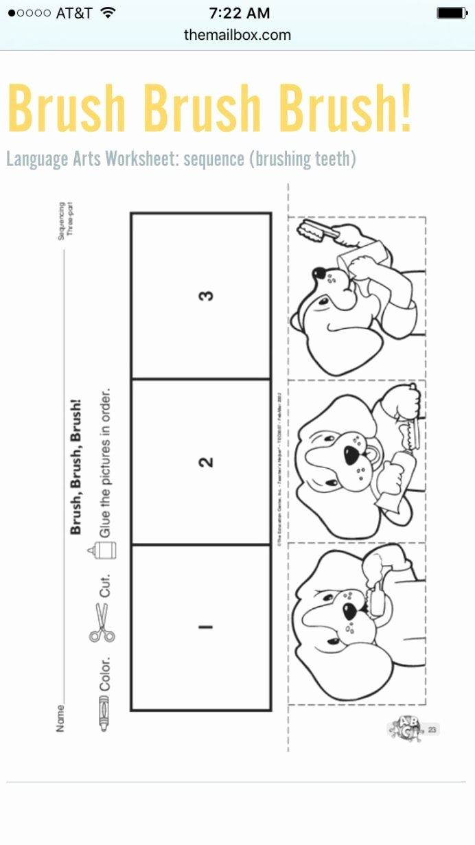 Worksheets for Preschoolers About Teeth Kids to Brush Your Teeth Sequencingindergarten Worksheets Free