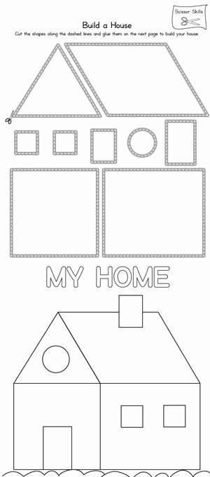 Worksheets for Preschoolers at Home New House Scissor Practice