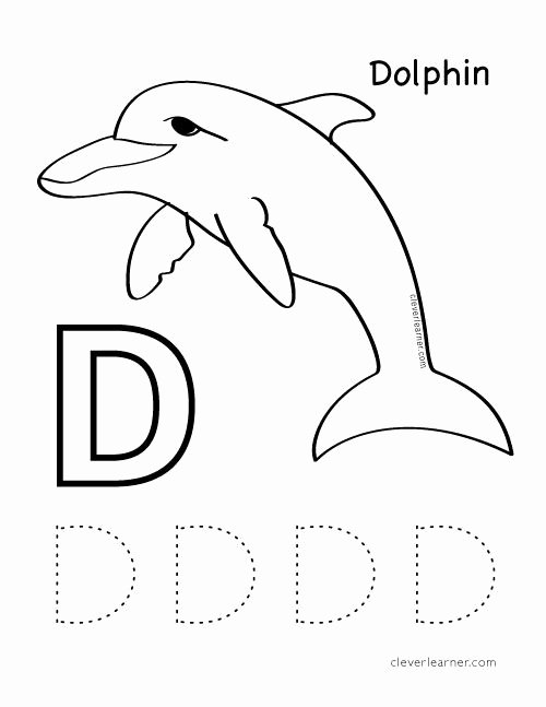 Worksheets for Preschoolers Colouring top D is for Dolphin Colouring Worksheets for Preschool Kids