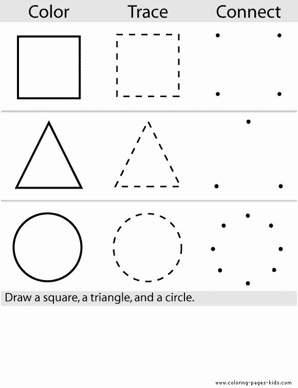 Worksheets for Preschoolers Colouring top Shape Color Pages Coloring Pages for Kids Educational