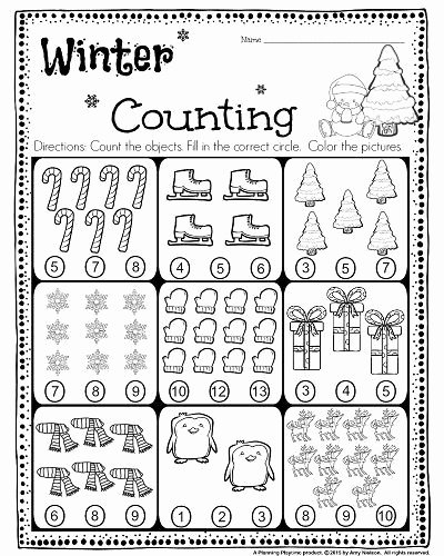 Worksheets for Preschoolers Counting Kids Kindergarten Math and Literacy Worksheets for December