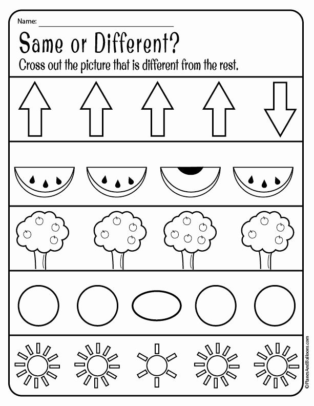 Worksheets for Preschoolers Free Download Kids Same and Different Worksheets for Preschool Free