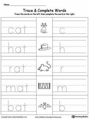 Worksheets for Preschoolers Learning to Write Lovely at Word Family Trace and Write