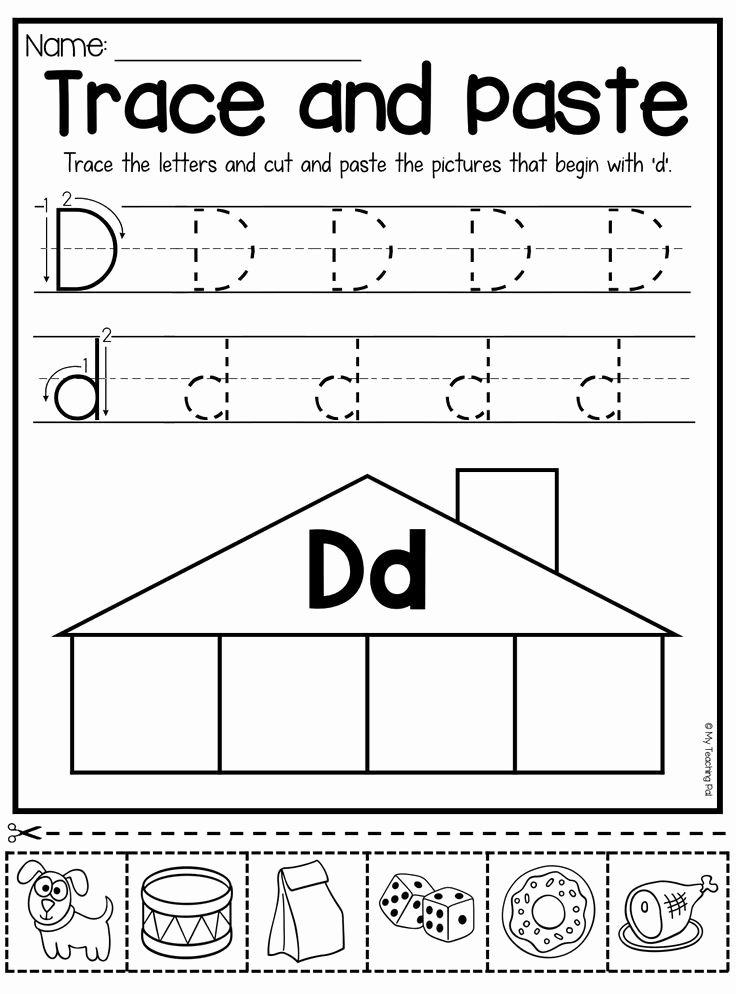 Worksheets for Preschoolers Letter D Best Of Beginning sounds Worksheets Trace and Paste