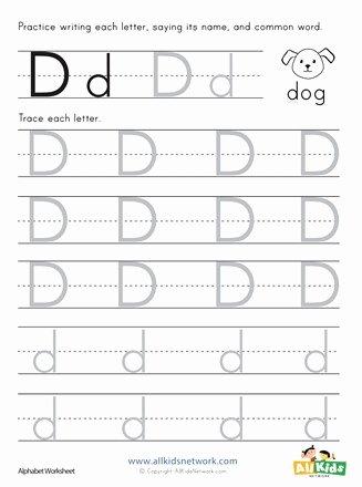 Worksheets for Preschoolers Letter D Kids Letter D Tracing Worksheet