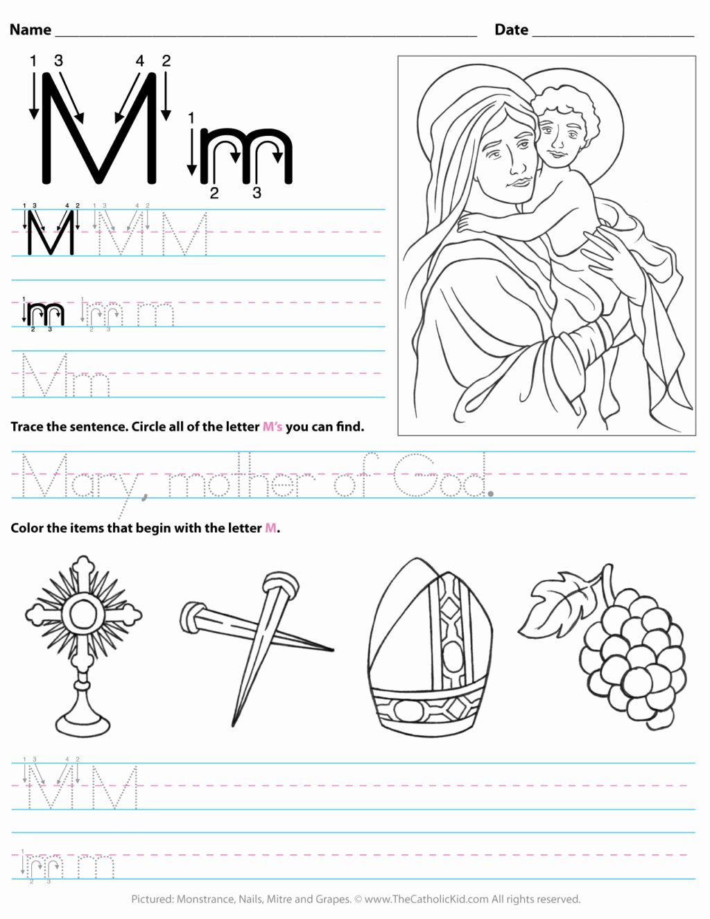 Worksheets for Preschoolers Letter M Printable Worksheet Worksheet Catholic Alphabet Letter M Preschool