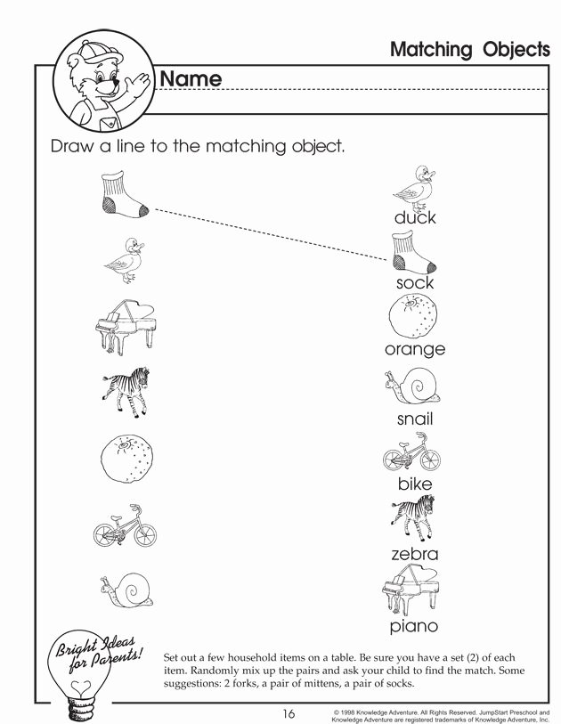 Worksheets for Preschoolers Matching Lovely Matching Objects – Matching Worksheet for Preschoolers