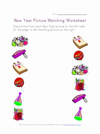 Worksheets for Preschoolers Matching Lovely New Year Matching Worksheet