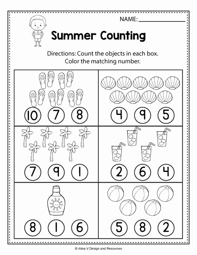 Worksheets for Preschoolers Math Inspirational Counting Worksheets Summer Math and Activities for Preschool