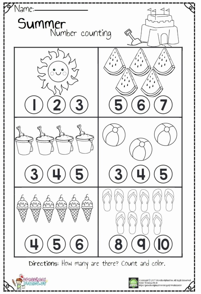 Worksheets for Preschoolers Math Printable Counting Worksheets Hs for Summer Kindergarten Preschool