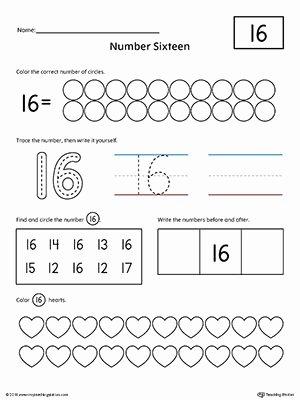 Worksheets for Preschoolers Numbers Lovely Number 16 Practice Worksheet