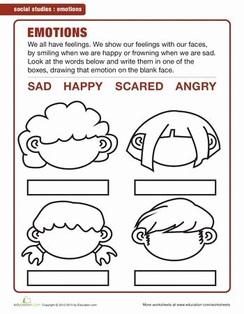 Worksheets for Preschoolers On Emotions top Image Result for Emotions Worksheets for Kindergarten Pdf