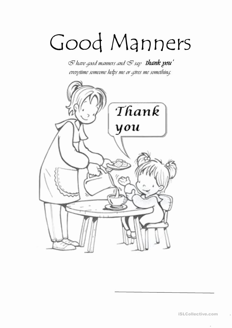 Worksheets for Preschoolers On Manners Best Of Manners Worksheet for Preschool Good Manners English Esl