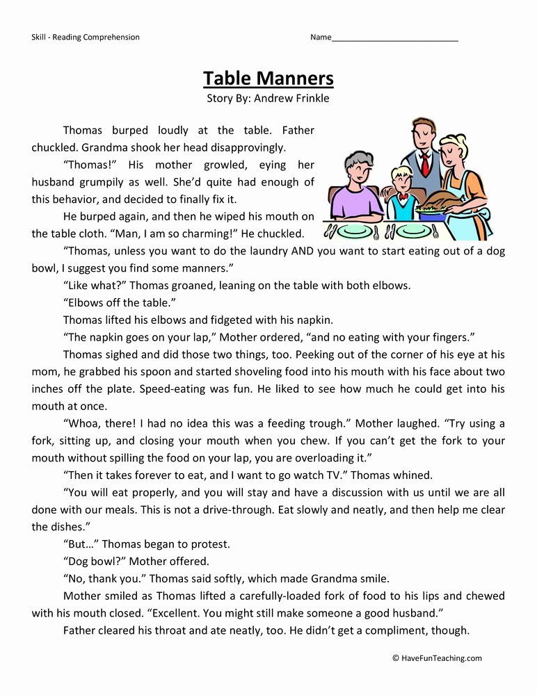 Worksheets for Preschoolers On Manners Printable Table Manners Reading Prehension Worksheet