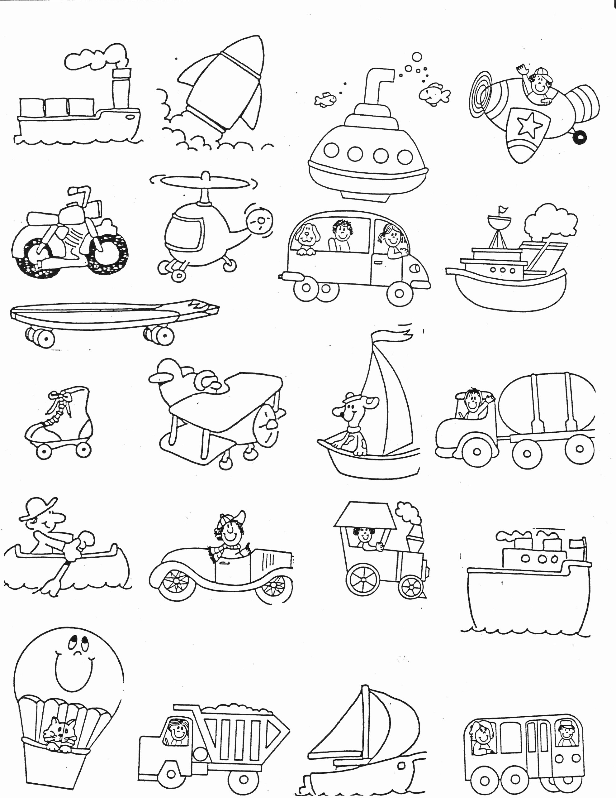 Worksheets for Preschoolers On Transportation Ideas Worksheets Transportation Kindergarten Nana Half Worksheet