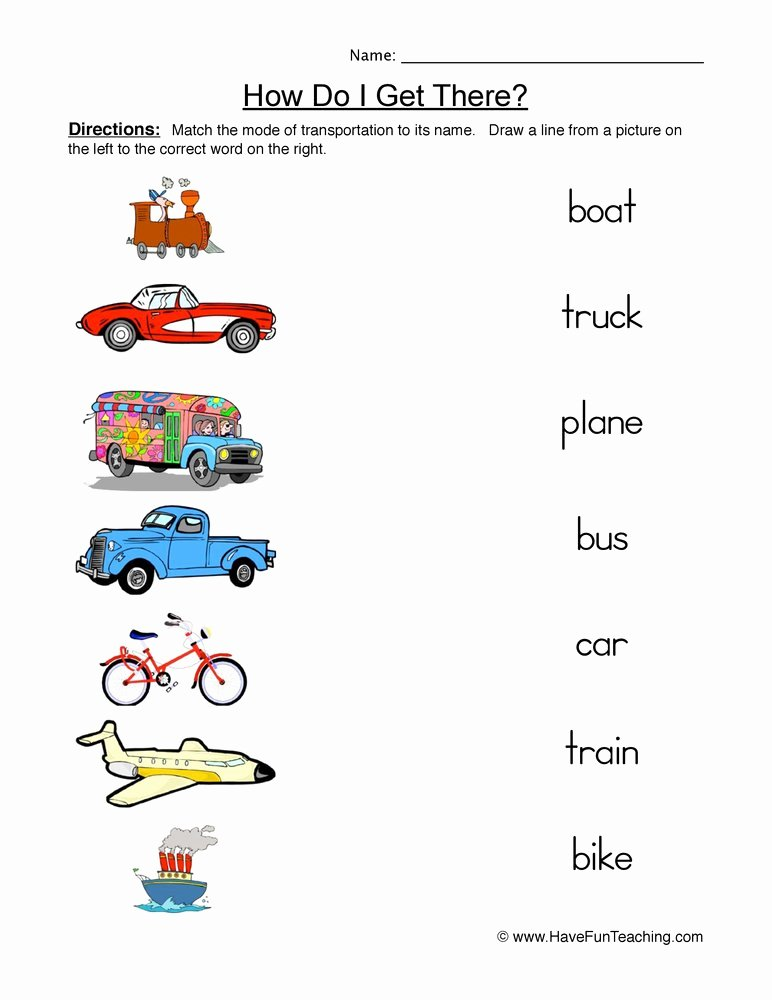 Worksheets for Preschoolers On Transportation Inspirational Transportation Matching Worksheet