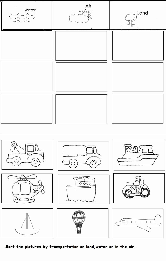 Worksheets for Preschoolers On Transportation Inspirational Transportation Unit Worksheet for Kindergarten