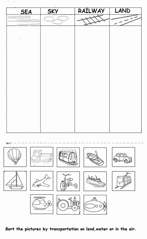 Worksheets for Preschoolers On Transportation Lovely Vehicle Worksheet for Kids