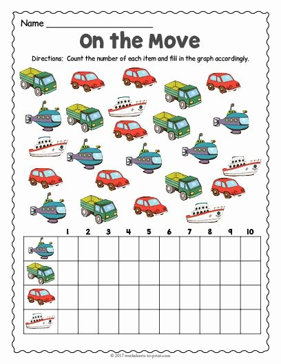 Worksheets for Preschoolers On Transportation New Free Printable Transportation Count and Graph Worksheet