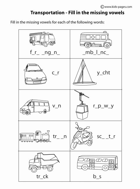Worksheets for Preschoolers On Transportation New Transportation Fill In Bw Worksheet