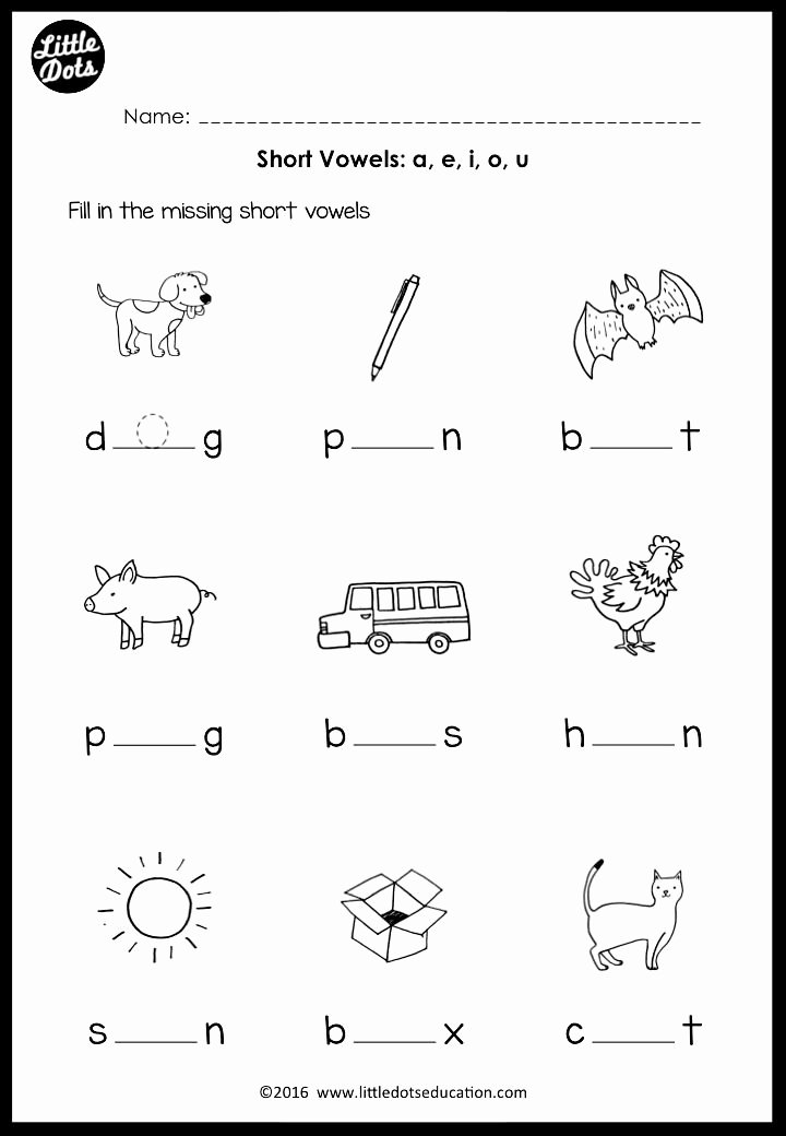 Worksheets for Preschoolers On Vowels New Short Vowels Middle sounds Worksheets and Activities