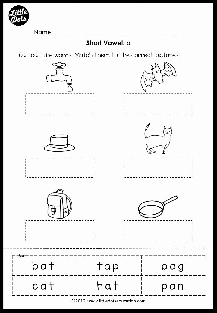Worksheets for Preschoolers On Vowels Printable Short Vowels Middle sounds Worksheets and Activities
