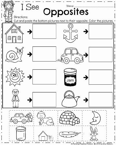 Worksheets for Preschoolers Opposites Ideas April Kindergarten Worksheets Opposites Antonyms