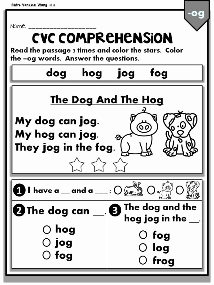Worksheets for Preschoolers Reading Kids Phonics Worksheets Cvc Prehension Readers Kindergarten