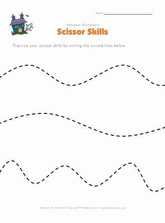 Worksheets for Preschoolers Scissor Skills top Halloween Scissor Skills Worksheet