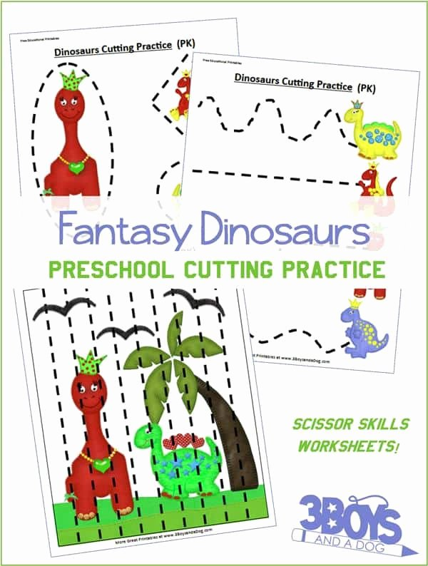Worksheets for Preschoolers Scissor Skills top Preschool Cutting Practice Dinosaurs Worksheets – 3 Boys