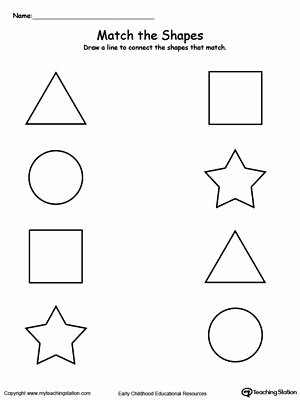 Worksheets for Preschoolers Shapes top Match the Shapes