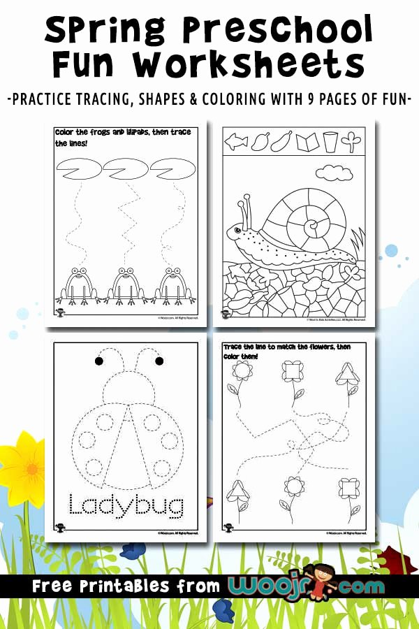 Worksheets for Preschoolers Spring Lovely Spring Preschool Worksheets for Shape Recognition Tracing