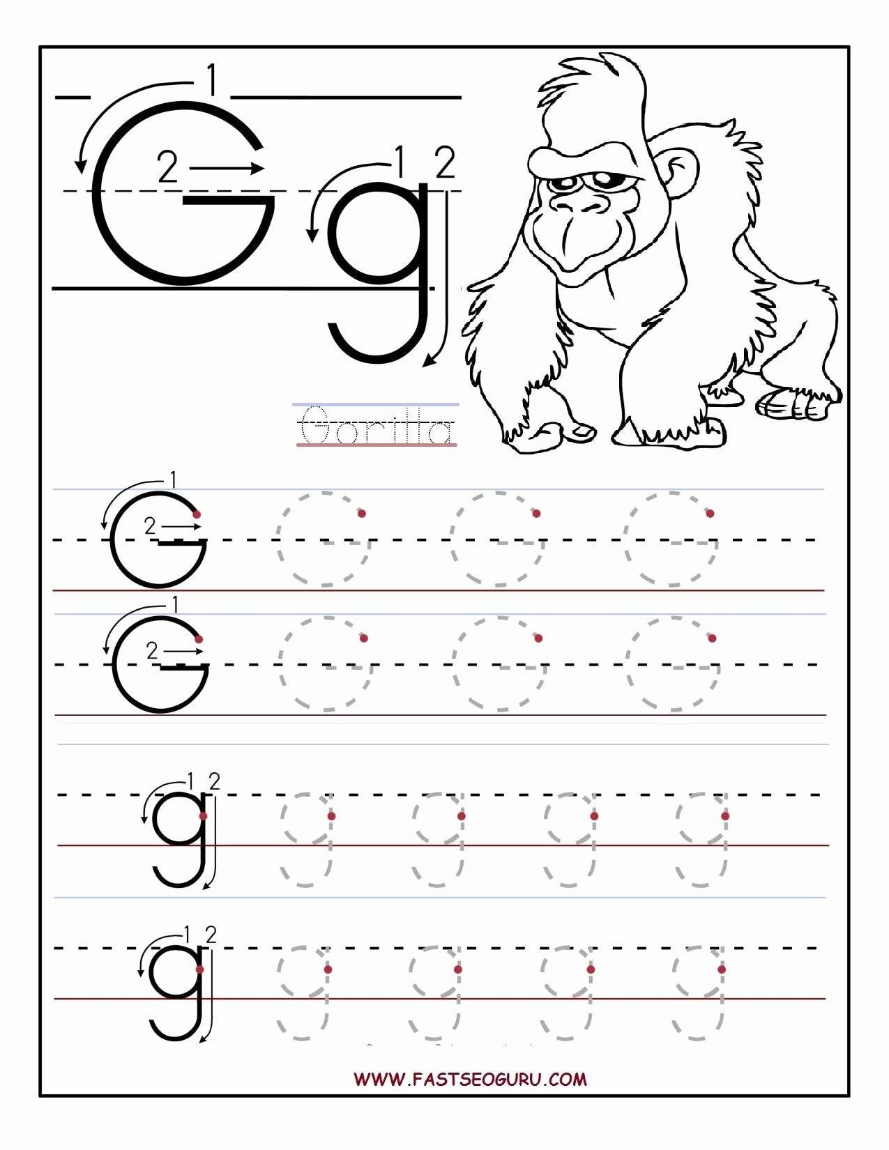 Worksheets for Preschoolers Tracing Letters Kids Printable Letter G Tracing Worksheets for Preschool