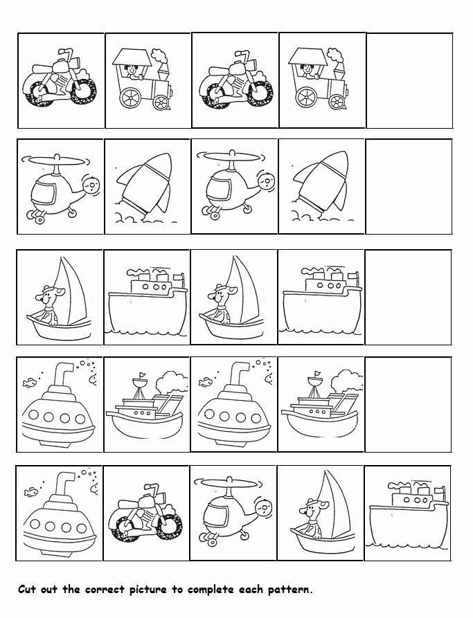 Worksheets for Preschoolers Transportation Best Of Transportation Pattern Worksheet for Kids