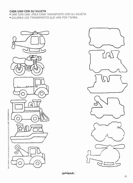 Worksheets for Preschoolers Transportation Ideas Transportation Shadow Matching Worksheet 1