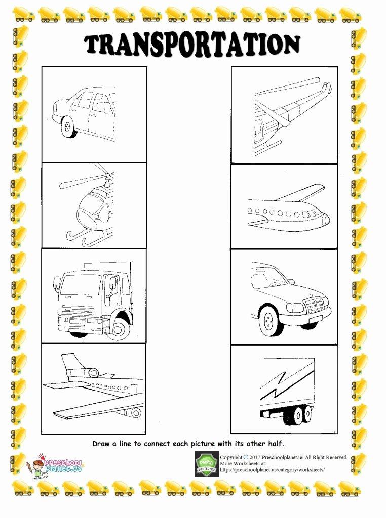 Worksheets for Preschoolers Transportation Printable Find Half Of Given Transportation Worksheet – Preschoolplanet