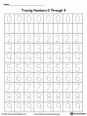Writing Numbers Worksheets for Preschoolers Inspirational Tracing Numbers 0 Through 9