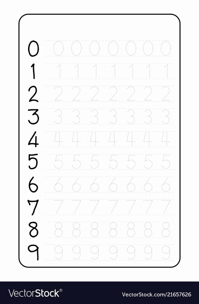 Writing Numbers Worksheets for Preschoolers Kids Practice Writing Numbers Worksheet Vector Image Number