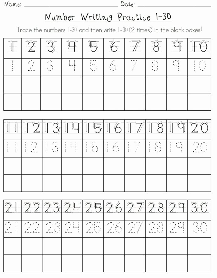 Writing Numbers Worksheets for Preschoolers Lovely Numbers Worksheet for School Writing Number Practice