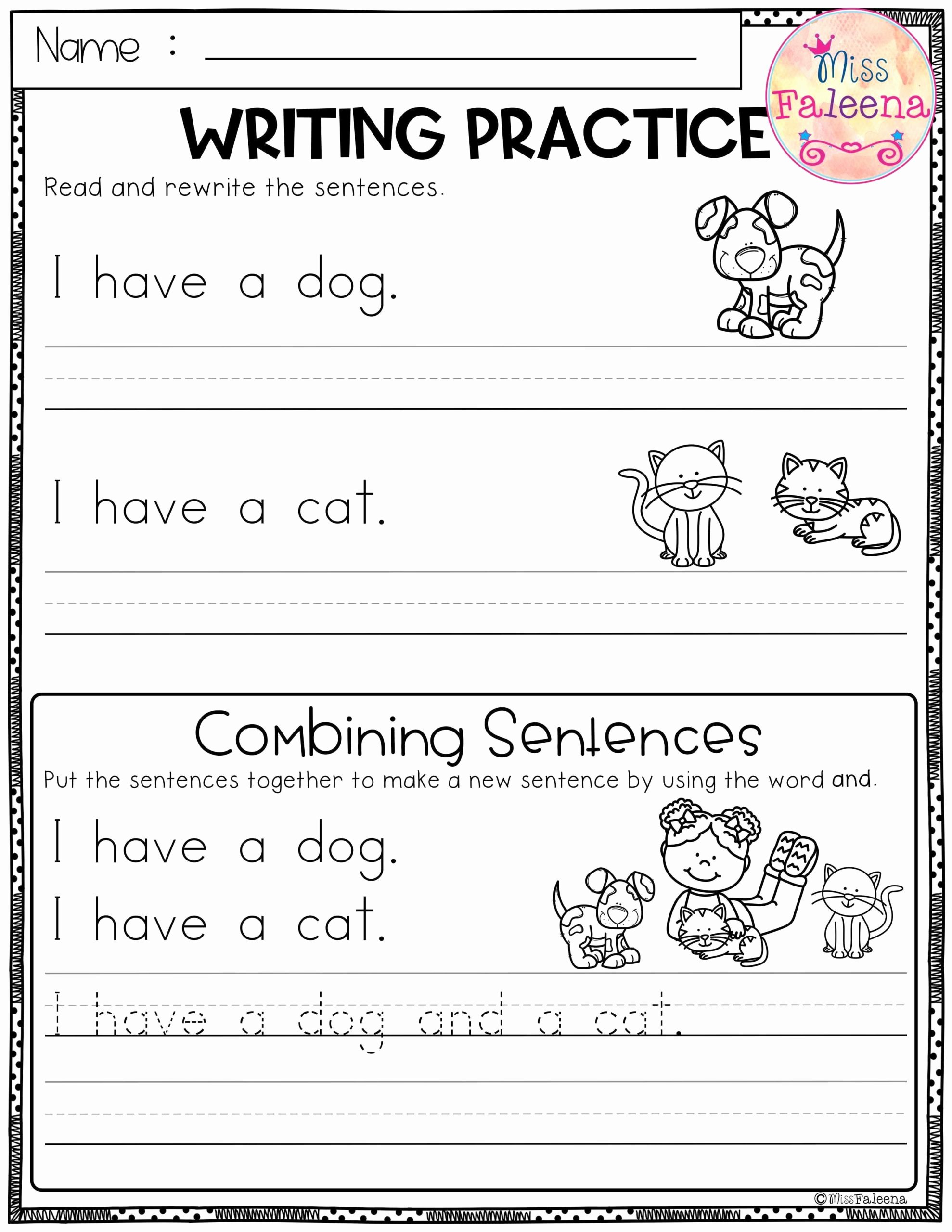 Writing Worksheets for Preschoolers Free New Free Writing Practice Bining Sentences Sentence