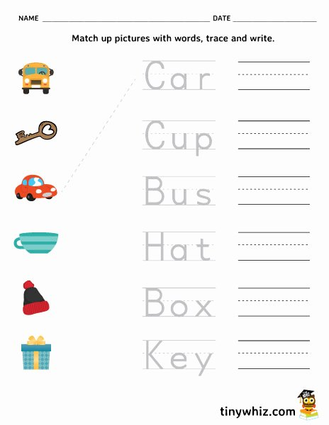 Writing Worksheets for Preschoolers Free Printable Worksheet Match Trace and Write Free Printable