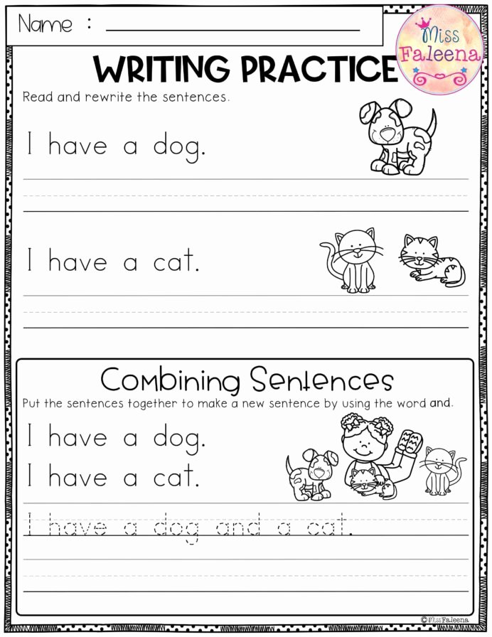 Writing Worksheets for Preschoolers Lovely Free Writing Practice Bining Sentences Sentence