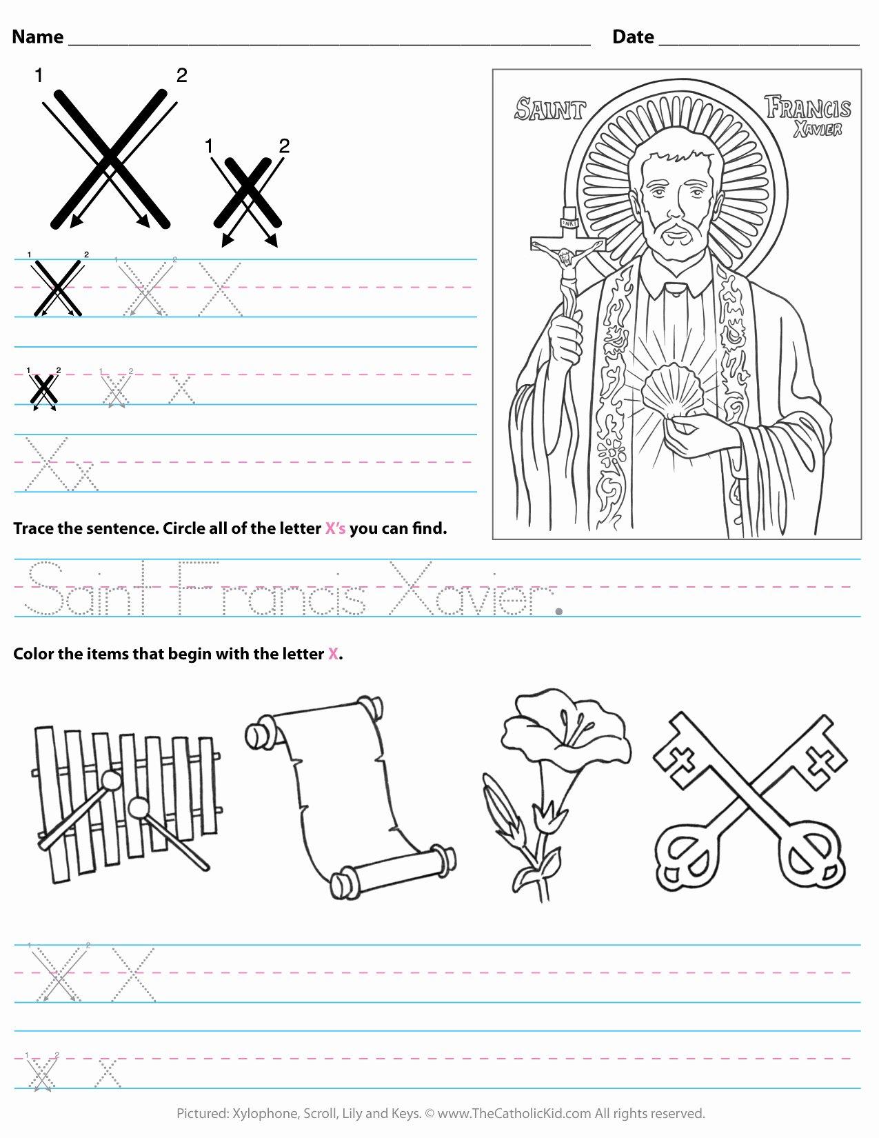 X Worksheets for Preschoolers Inspirational Catholic Alphabet Letter X Worksheet Preschool Kindergarten